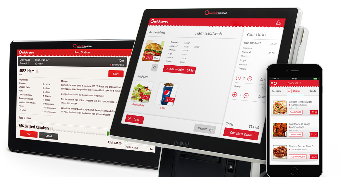 Qwickserve Made-to-Order Kiosk System: Self-Service Terminal, Prep Station & Mobile App